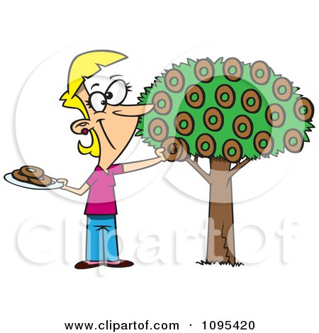 Clipart Cartoon Happy Woman Picking Donuts From A Tree - Royalty Free Vector Illustration by toonaday