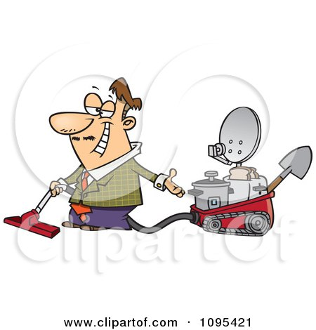 Clipart Cartoon Male Inventor Introducing His Five In One Machine - Royalty Free Vector Illustration by toonaday