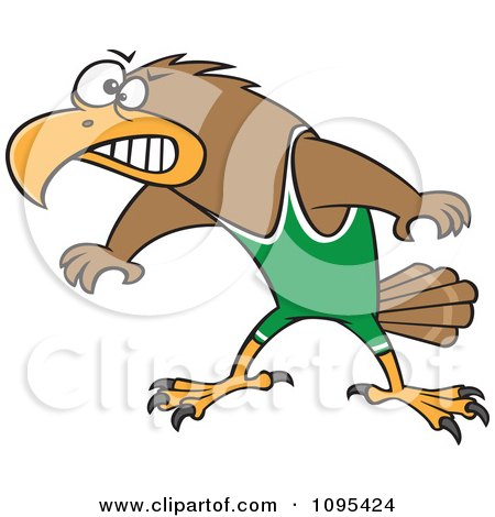 Clipart Cartoon Wrestler Hawk Ready To Fight - Royalty Free Vector Illustration by toonaday