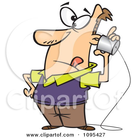 Clipart Cartoon Low Tech Man Using A Can Phone  - Royalty Free Vector Illustration by toonaday