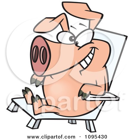 Clipart Cartoon Hog Relaxing In A Chair On Pig Day - Royalty Free Vector Illustration by toonaday