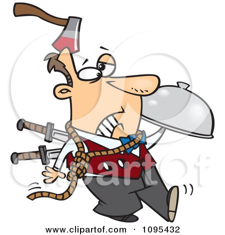 Clipart Cartoon Murder Mystery Server Man With An Axe In His Head And Knives In His Back - Royalty Free Vector Illustration by toonaday