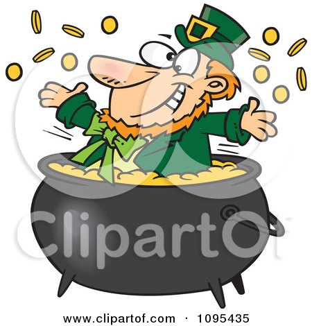 Clipart Cartoon St Patricks Leprechaun Playing In A Pot Of Gold - Royalty Free Vector Illustration by toonaday