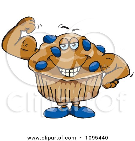 Clipart Strong Protein Blueberry Stud Muffin Flexing Its Muscles - Royalty Free Vector Illustration by Dennis Holmes Designs