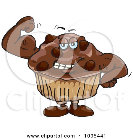 Clipart Strong Protein Chocolate Stud Muffin Flexing Its Muscles - Royalty Free Vector Illustration by Dennis Holmes Designs