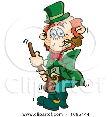 Clipart St Patricks Day Leprechaun Holding A Shalaylee Walking Stick - Royalty Free Vector Illustration by Dennis Holmes Designs