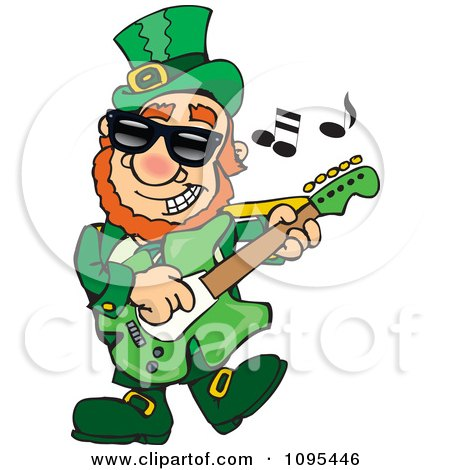 Clipart St Patricks Day Leprechaun Playing Rock And Roll St Patrock - Royalty Free Vector Illustration by Dennis Holmes Designs