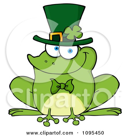Clipart St Patricks Day Frog Wearing A Shamrock Hat - Royalty Free Vector Illustration by Hit Toon