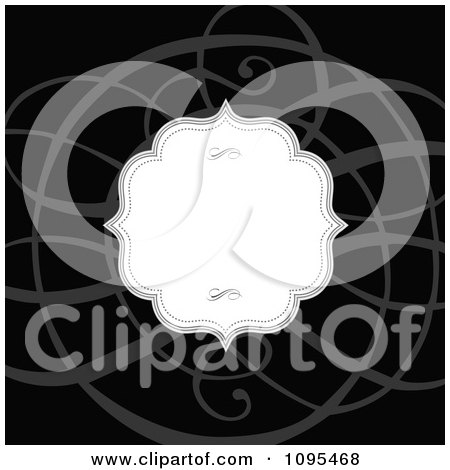 Clipart White Frame And Gray Swirl On Black Wedding Invitation Design - Royalty Free Vector Illustration by BestVector