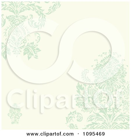 Clipart Pastel Green And Beige Damask Background With Copyspace - Royalty Free Vector Illustration by BestVector