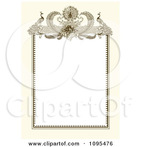 Clipart Vintage Biege And White Ornamental Peacock Wedding Invitation Frame - Royalty Free Vector Illustration by BestVector