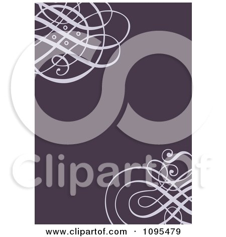 Clipart Purple Swirl Wedding Invitation Design With Copyspace - Royalty Free Vector Illustration by BestVector