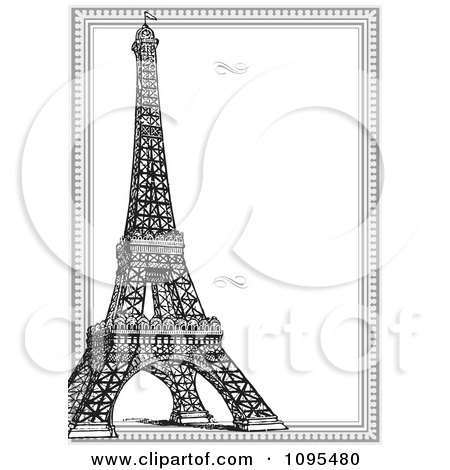vertical black and white eiffel tower and frame with swirls posters art prints