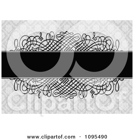 Clipart Black Text Bar Over Swirls And A Gray Floral Pattern Wedding Invitation Design - Royalty Free Vector Illustration by BestVector