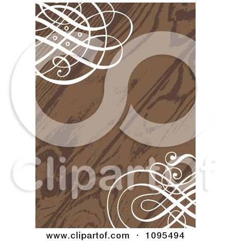 Clipart Wood Grain Wedding Invitation With Ornate White Swirls In The Corners - Royalty Free Vector Illustration by BestVector