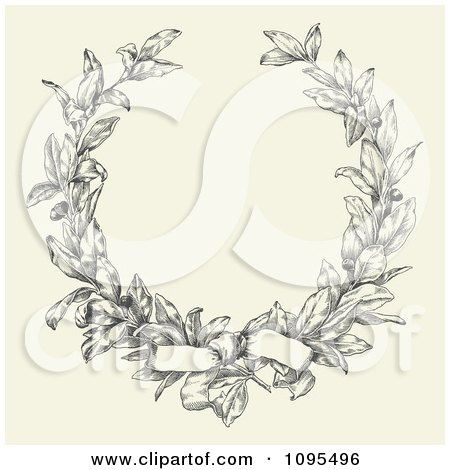 Clipart Bow Tied On An Ornate Laurel Wreath With Copyspace On Beige - Royalty Free Vector Illustration by BestVector