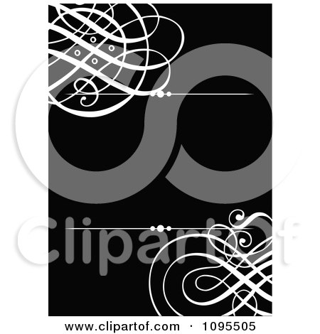 Clipart Black And White Swirl Wedding Invitation Design With Rules And