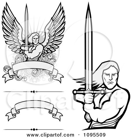 Clipart Male Angel Warriors Holdinh Swords And Blank Banners - Royalty Free Vector Illustration by BestVector
