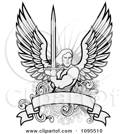 Clipart Male Angel Warrior Holding A Sword Over A Blank Banner Royalty Free Vector Illustration