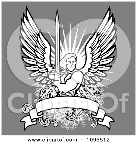 Clipart Male Angel Holding A Sword Over A Blank Banner On Gray - Royalty Free Vector Illustration by BestVector