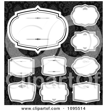 Clipart Blank White Frames Over Black And Gray Damask - Royalty Free Vector Illustration by BestVector