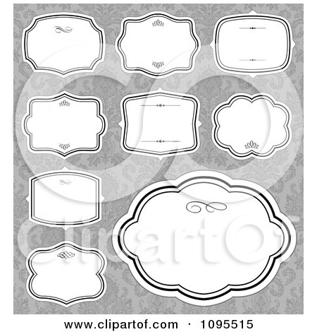 Clipart Blank White Frames Over Gray Damask 1 - Royalty Free Vector Illustration by BestVector
