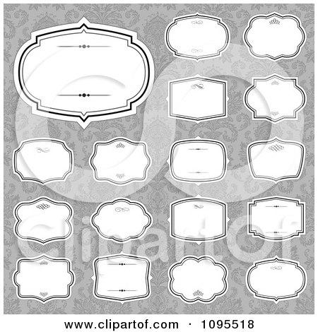 Clipart Blank White Frames Over Gray Damask 2 - Royalty Free Vector Illustration by BestVector