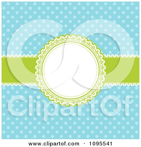 Clipart Retro Blue Polka Dot Background With A Green And White Round Frame And Ribbon - Royalty Free Vector Illustration by KJ Pargeter