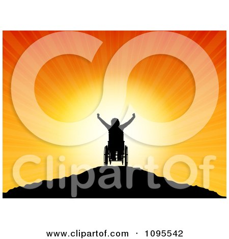 Clipart Silhouetted Person In A Wheelchair On A Hilltop Holding Their Arms Up Against The Sunset - Royalty Free Vector Illustration by KJ Pargeter