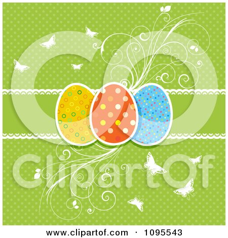 Retro Green Polka Dot Easter Egg Background With Flourishes And Butterflies Posters, Art Prints