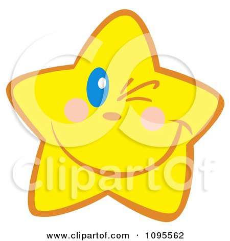 Clipart Yellow Star Winking - Royalty Free Vector Illustration by Hit Toon