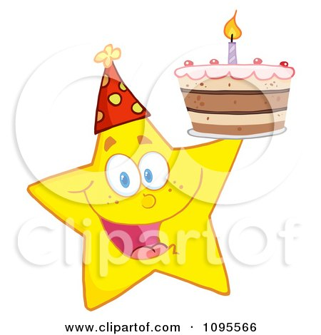 Clipart Yellow Star Holding Up A Birthday Cake - Royalty Free Vector Illustration by Hit Toon