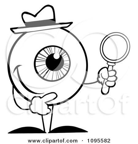 Clipart Black And White Eyeball Character Detective Holding A Magnifying Glass - Royalty Free Vector Illustration by Hit Toon