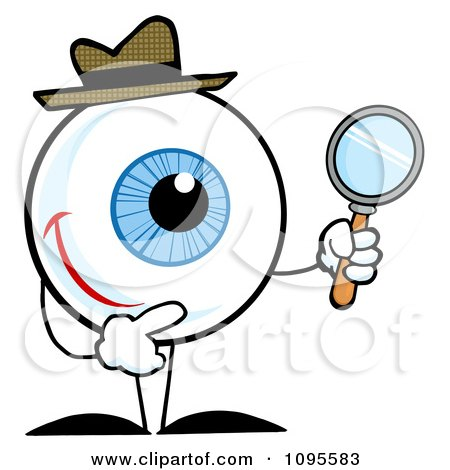 Clipart Blue Eyeball Character Detective Holding A Magnifying Glass - Royalty Free Vector Illustration by Hit Toon