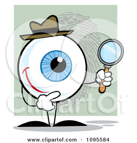 Clipart Blue Eye Character Detective Holding A Magnifying Glass - Royalty Free Vector Illustration by Hit Toon