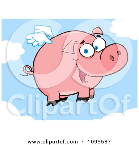 Clipart Winged Pig Smiling And Flying In The Sky - Royalty Free Vector Illustration by Hit Toon
