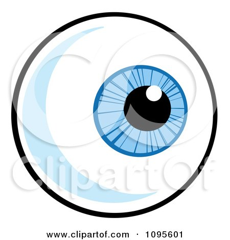 Clipart Blue Eyeball Looking Right - Royalty Free Vector Illustration by Hit Toon