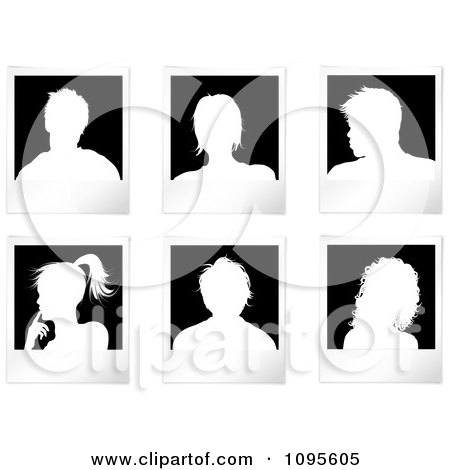 Clipart White Silhouetted Picture Avatars Royalty Free Vector Illustration
