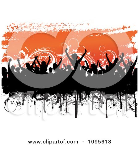 Clipart Black Silhouetted Crowd And Grunge Over Orange And Floral Vines On White - Royalty Free Vector Illustration by KJ Pargeter