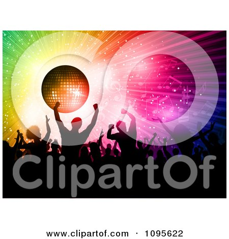 Clipart Crowded Silhouetted Dance Floor With People Under A Disco Ball With Rainbow Rays And Music Notes - Royalty Free Vector Illustration by KJ Pargeter