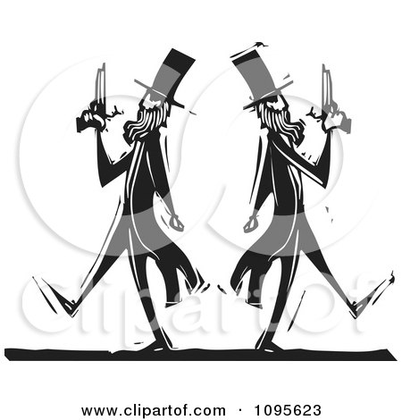 Clipart Dueling Men Pacing Away From Each Other Black And White Woodcut - Royalty Free Vector Illustration by xunantunich