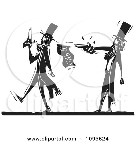 Clipart Dueling Man Pacing Away From An Opponent With A Prank Gun Black And White Woodcut - Royalty Free Vector Illustration by xunantunich