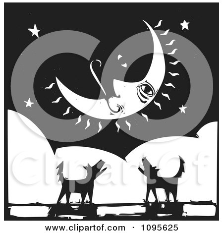 Clipart Silhouetted Dogs Barking Under A Crescent Moon Black And White Woodcut - Royalty Free Vector Illustration by xunantunich