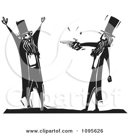 Clipart Man Being Mugged By Another With A Pistol Black And White Woodcut - Royalty Free Vector Illustration by xunantunich