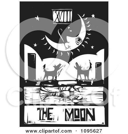 Clipart Crawdad Barking Dogs And Crescent Moon Tarot Card Black And White Woodcut - Royalty Free Vector Illustration by xunantunich