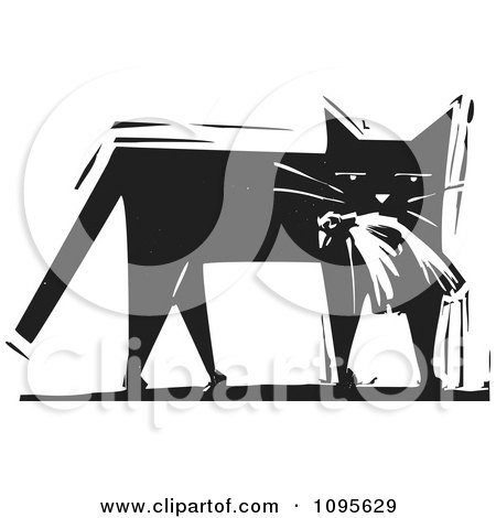 Clipart Cat Carrying A Dead Bird In Its Mouth Black And White Woodcut - Royalty Free Vector Illustration by xunantunich