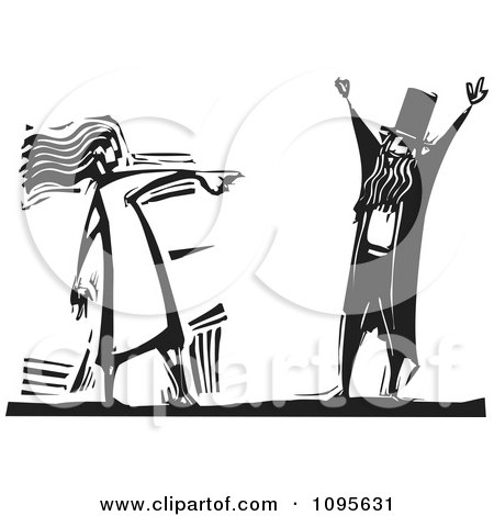 Clipart Woman Pointing Her Finger At A Man Black And White Woodcut - Royalty Free Vector Illustration by xunantunich