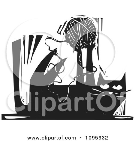 Clipart Cat Playing With A Ball Of Yarn Black And White Woodcut - Royalty Free Vector Illustration by xunantunich