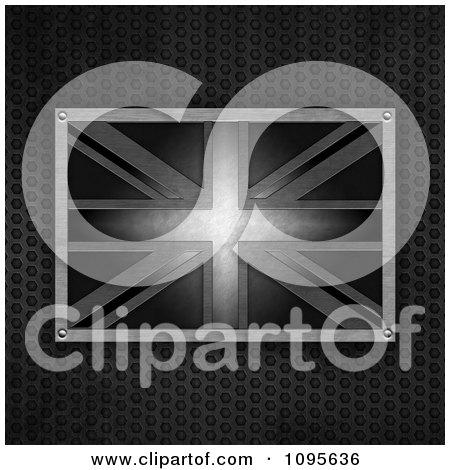 Clipart 3d Metal Union Jack Flag Over Perforated Metal - Royalty Free CGI Illustration by elaineitalia