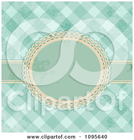 Clipart Vintage Grungy Green Or Blue Gingham Background With A Ribbon And Frame - Royalty Free Vector Illustration by elaineitalia
